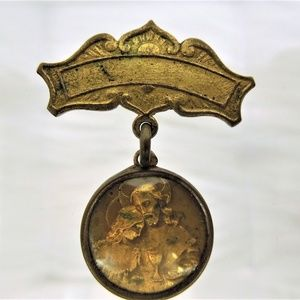 Antique Brooch Medallion Holy Communion Pin
